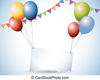 Birthday background with balloons and place for text