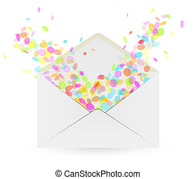 envelope and falling confetti on white background