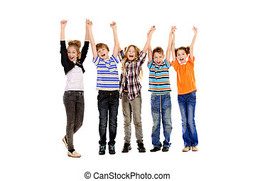 joyful teens - Group of cheerful schoolchildren standing...