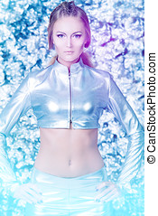 galaxy - Beautiful young woman in silver latex costume with...