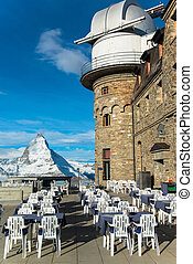 The Gornergrat Observatory and Matterhorn peak, Zermatt...