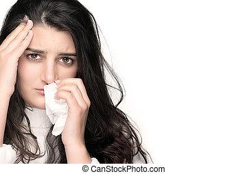 doente, jovem, mulher, gripe, ou, alergia, sobre, branca,...