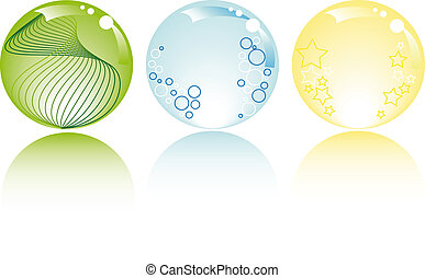 glowing spheres with white background - glowing spheres in...