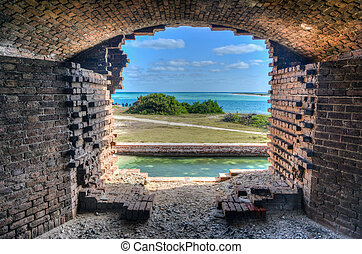 Window, Fort Jefferson at the Dry Tortugas National Park -...