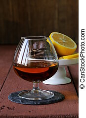 glass of brandy with chocolate