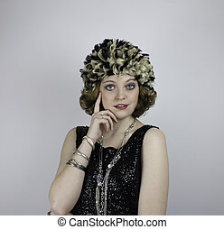Young woman wearing vintage items - Pretty young woman...