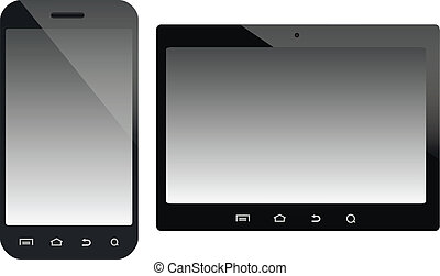 Mobile devices vector illustration - A smartphone and a...