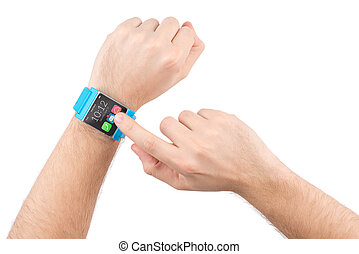 Male hands with smart watch tap on the screen - Male finger...