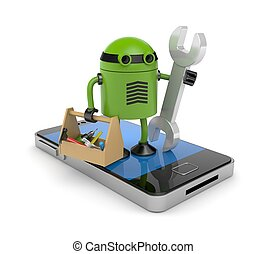 Mobile phone with robot - New technologies metaphor Isolated...