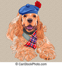 vector dog American Cocker Spaniel in Scottish Tam - cartoon...
