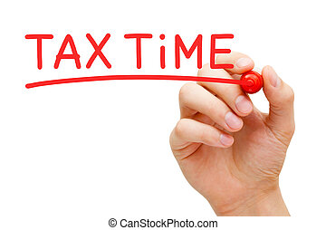 Tax Time Red Marker - Hand writing Tax Time with red marker...