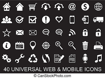 Web icons - 40 white universal original icons for web and...