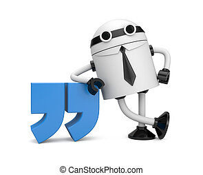 Robot leaning on a quote - Image contain the clipping path