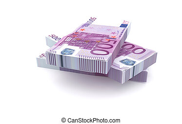 500 Euros money stack isolated on white background - 3d...