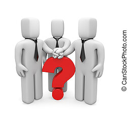 3d people with hands on top of question mark - Image contain...