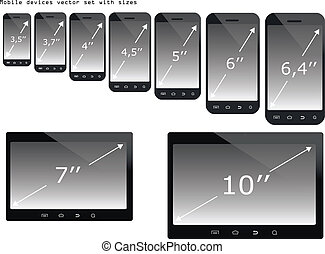 Mobile devices sizes vector illustration set - Mobile...