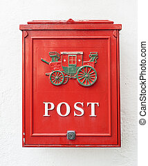 Red postbox. Travle on Norway