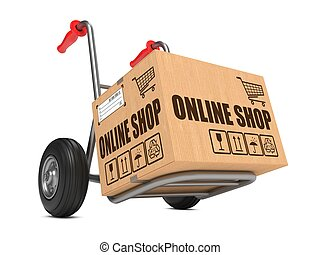 Online Shop - Cardboard Box on Hand Truck. - Cardboard Box...