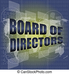 board of directors words on digital screen background with...