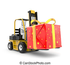 Forklift with gift box - New Year metaphor. Isolated on...