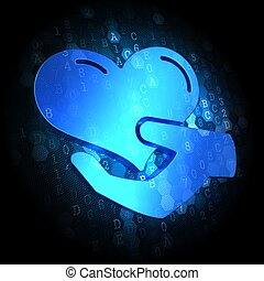Icon of Heart in the Hand on Digital Background - Blue Icon...