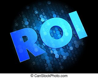 ROI on Digital Background. - ROI on Dark Blue Digital...