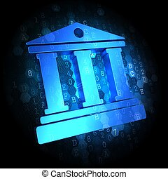 Building with Columns Icon on Digital Background - Blue Icon...