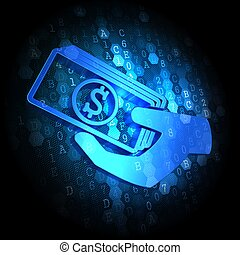 Icon of Money in the Hand on Digital Background. - Blue Icon...