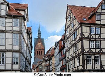 Hanover - Half-timbered houses in the old town of Hanover