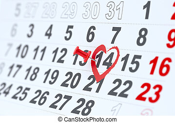 Valentines day concept - 3d render of 14 february calendar...