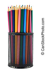 Pencil holder full of pencils - Black pencil holder full of...