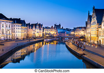 Leie river bank in Ghent, Belgium, Europe. - Picturesque...
