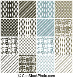 geometric seamless patterns: swaves,circles, lines - set of...