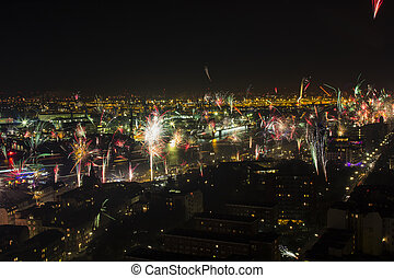 New Year's Eve Fire Works over Port of Hamburg