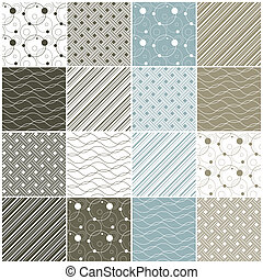 geometric seamless patterns: dots, waves, stripes - set of...