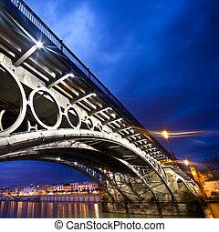 sevilla, panorama, ribera, debajo, Triana, Puente