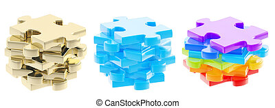 Stack of a puzzle pieces isolated