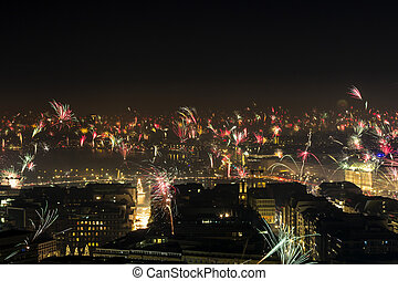New Year's Eve Fire Works Downtown Hamburg Alster