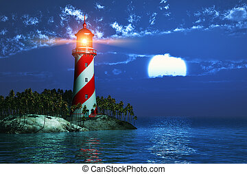 Lighthouse at night - Night scenery of tropical sea coast...