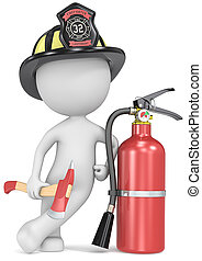 Fire and rescue - Dude the Firefighter holding an axe and...