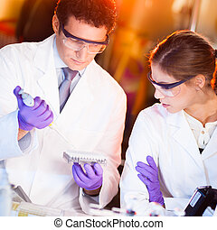 Scientist pipetting - Focused life science professionals...