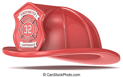 Red Firefighter Helmet - Firefighter Helmet Classic Red with...