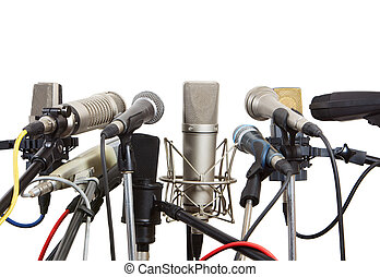 Microphones prepared for conference meeting.