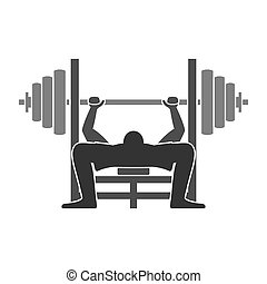 Bench Press Icon - Gym training workout equipment isolated...