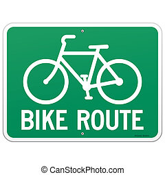 Bicycle Route Sign - Green road symbol with bike transport...
