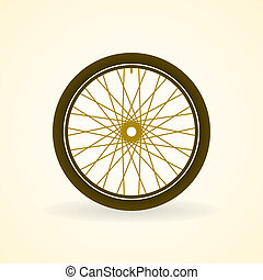 Bike Wheel - Bicycle wheel with rim and tire in pastel color...