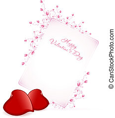 Happy Valentine's Day Floral Lettering - Typographical Background with Two Hearts