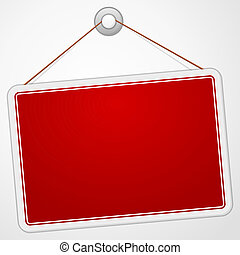 Red Sign Board - Blank hanging signboard isolated on white...