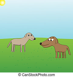 Puppy love - vector cartoon of two dogs looking at each...