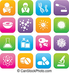 biotechnology flat style icon sets - suitable for user...